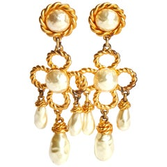 1970's Vintage Chanel Collectible Runway Pearl Earrings