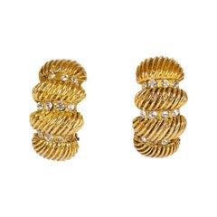 1970's Vintage Chanel Half Hoop Clip Earrings