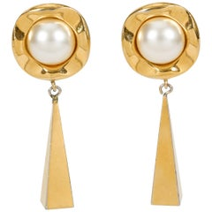 1970s Vintage Chanel Pearl Drop Earrings