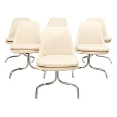 1970s Vintage Chrome Cantilever Dining Chairs, Set of 6