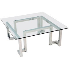 1970s Vintage Chrome and Glass Coffee Table by Pieff