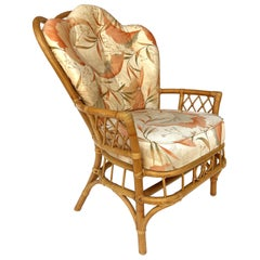 1970s Vintage Coastal Bent Rattan Peacock Chair with Original Upholstery
