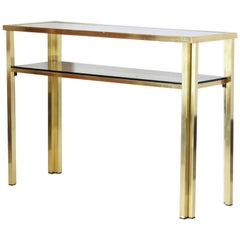 1970s Vintage Consolle Table with Goldenrod Structure and Smoked Glass