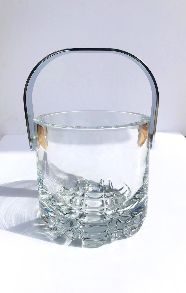 1970s Vintage Crystal Ice Bucket with Ice Glass Design For Sale 5