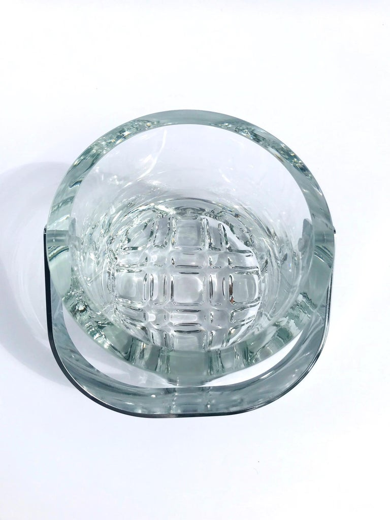 Stainless Steel 1970s Vintage Crystal Ice Bucket with Ice Glass Design For Sale