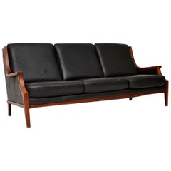 1970s Vintage Danish Leather Sofa
