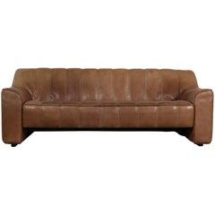 1970s Vintage De Sede DS 44 Three-Seat Sofa Brown Dark Cognac Buffalo Leather