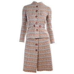 1970s Vintage Emanuel Ungaro Knit Dress & Jacket Suit in Orange & Gray Print