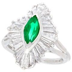1970s Vintage Emerald and 1.85 Carat Diamond Platinum Marquise Ring