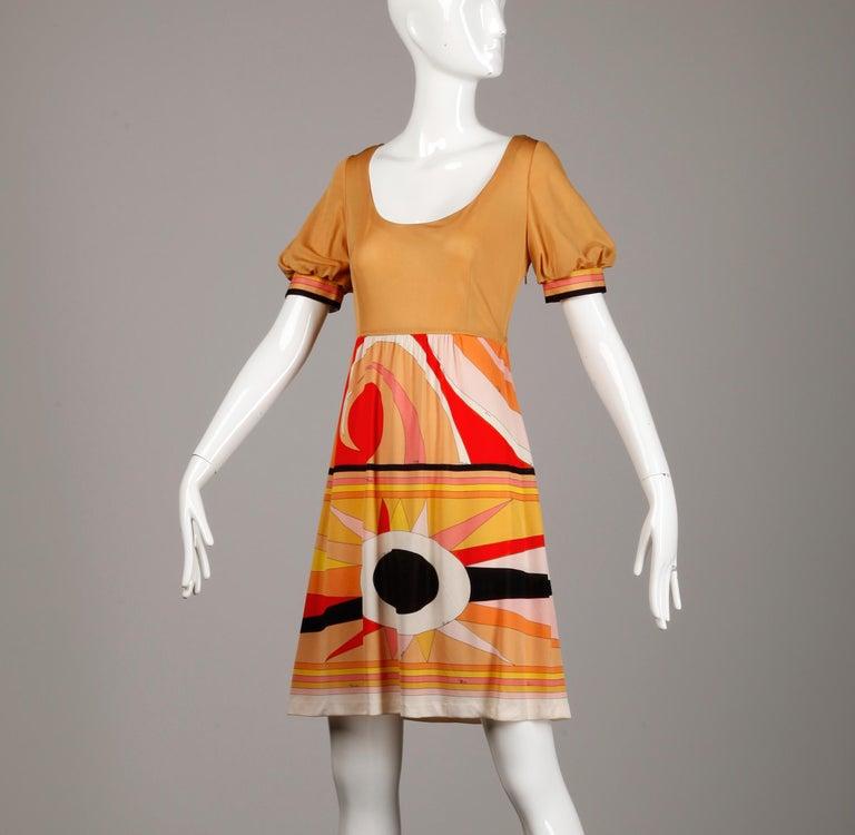 Orange 1970s Vintage Emilio Pucci Silk Jersey Knit Dress- Signed For Sale