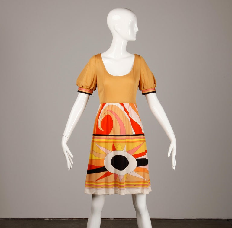 Women's 1970s Vintage Emilio Pucci Silk Jersey Knit Dress- Signed For Sale