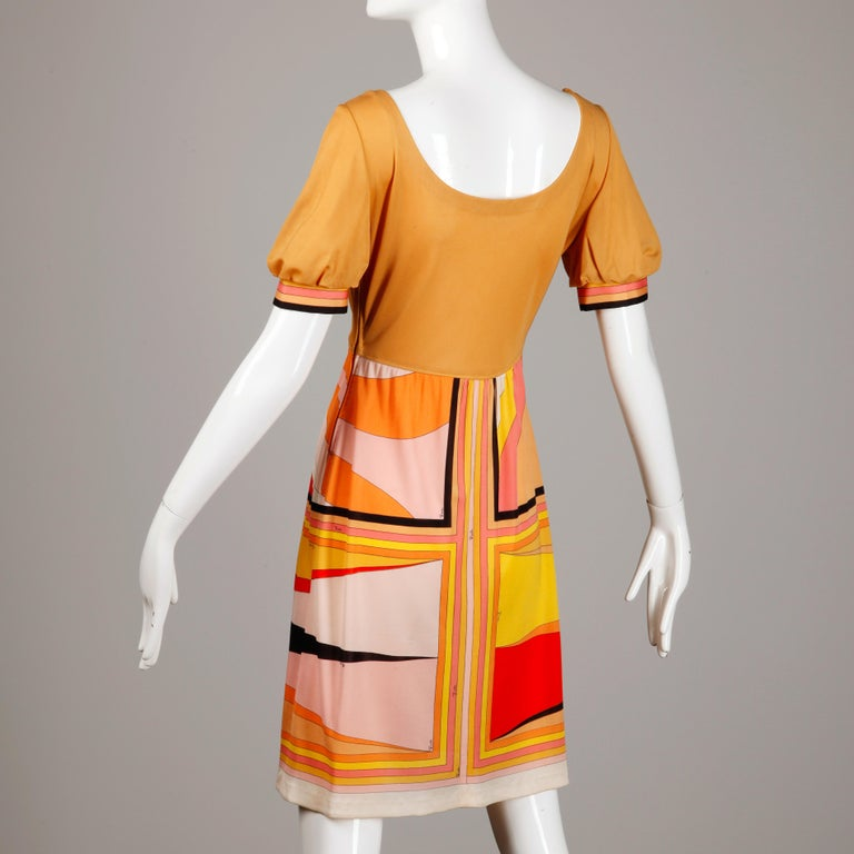 1970s Vintage Emilio Pucci Silk Jersey Knit Dress- Signed For Sale 2