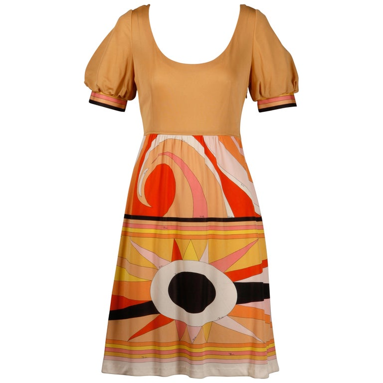 1970s Vintage Emilio Pucci Silk Jersey Knit Dress- Signed For Sale
