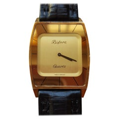 1970s Vintage Flat-Plated Bifora Watch, German Made, Black Leather, Gold Face