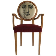 1970s Vintage Fornasetti Fabric Upholstered Chair in Original Condition