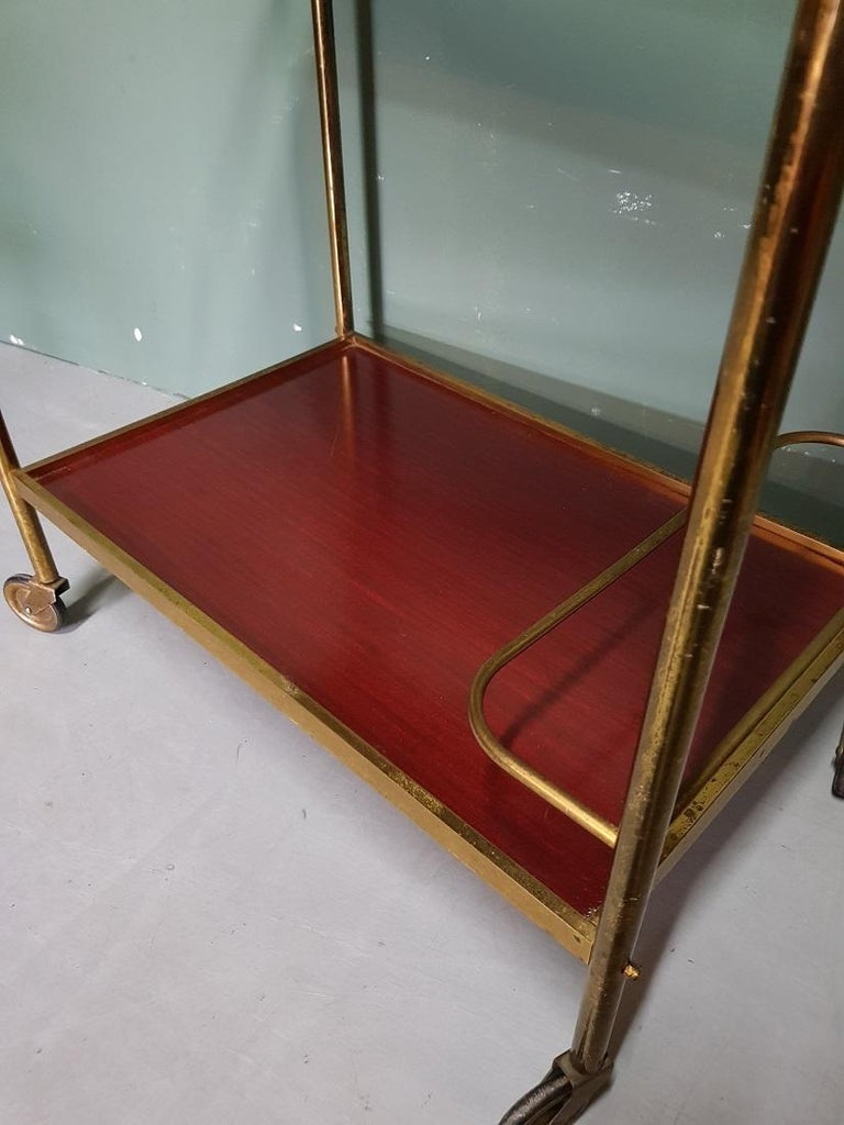 Post-Modern 1970s Vintage French Brass Serving Cart or Trolley For Sale