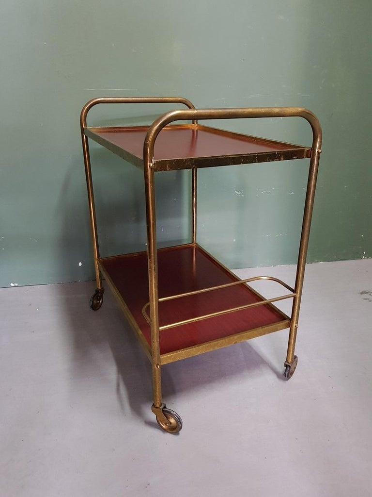 1970s Vintage French Brass Serving Cart or Trolley In Good Condition For Sale In Raalte, NL