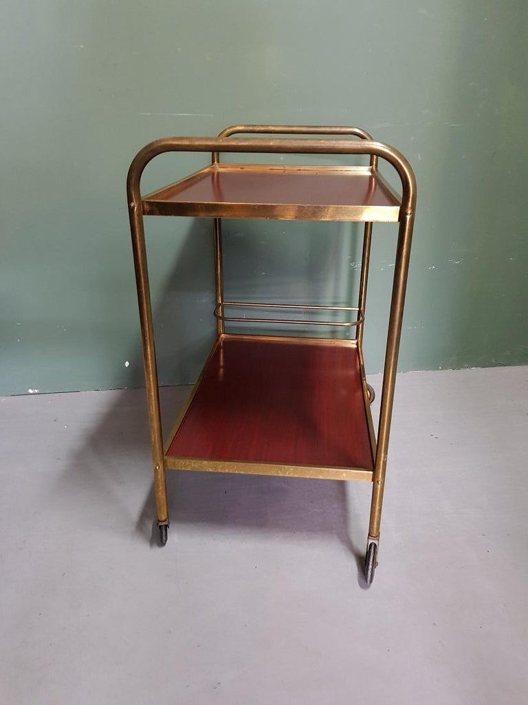 Late 20th Century 1970s Vintage French Brass Serving Cart or Trolley For Sale