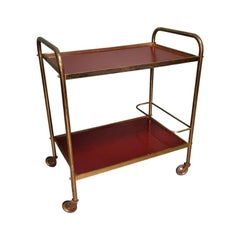 1970s Vintage French Brass Serving Cart or Trolley