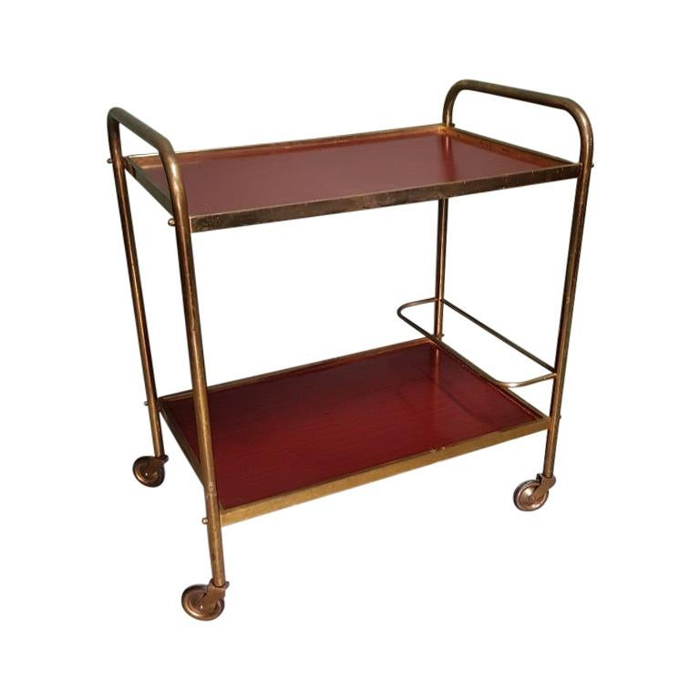 1970s Vintage French Brass Serving Cart or Trolley For Sale
