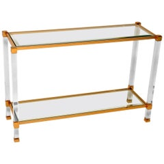 1970s Vintage French Glass, Lucite and Brass Console Table