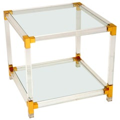 1970s Vintage Glass and Acrylic Coffee / Side Table