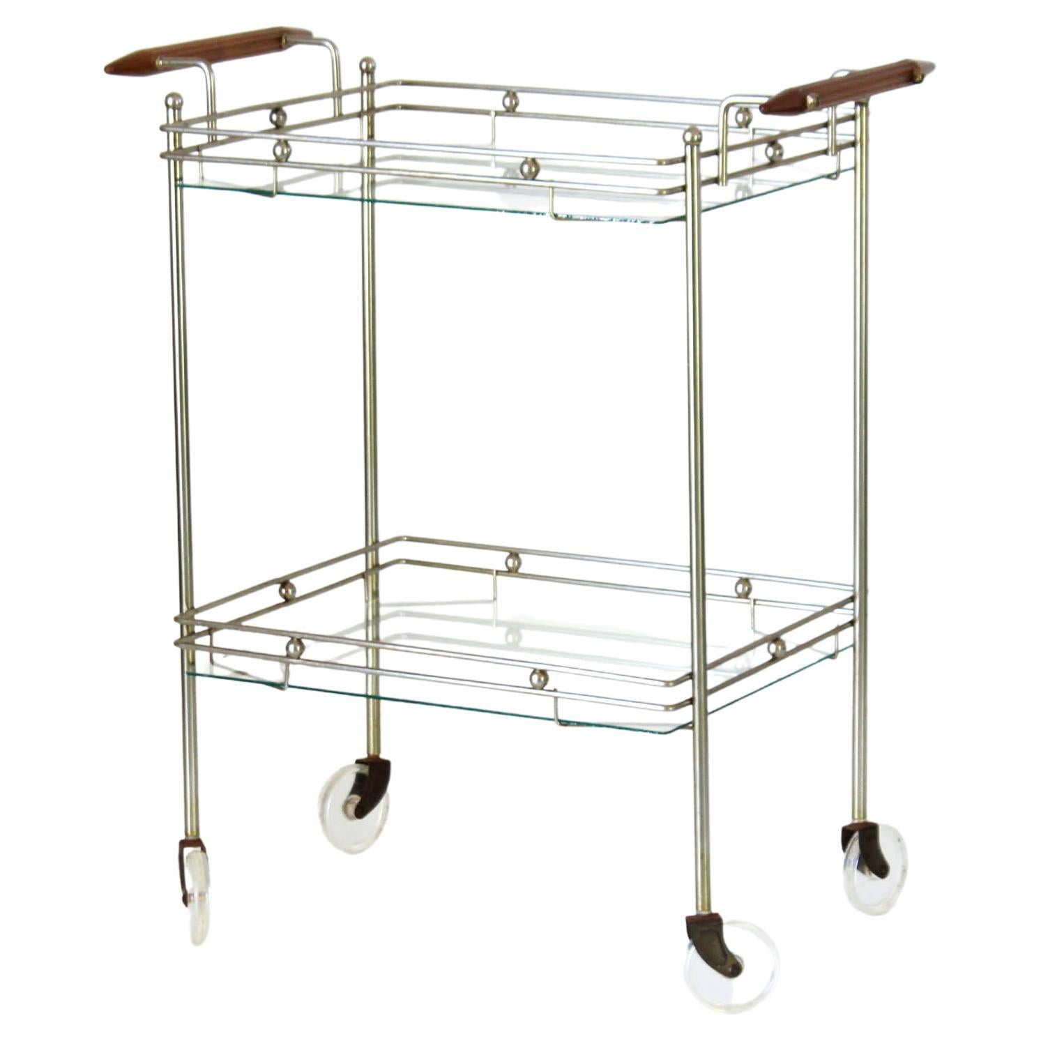 1970s Vintage Glass and Brass Rolling Bar Cart