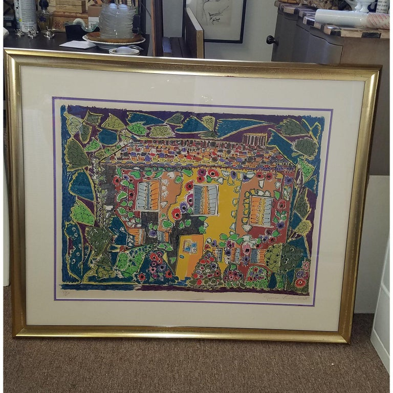 A framed lithograph by an iconic 20th century personality. Vibrant and cheery framed lithograph by the talented artist and socialite Gloria Vanderbilt. Printed on arches paper with a 1 inch giltwood frame. Numbered 54 out of a limited edition of 250.