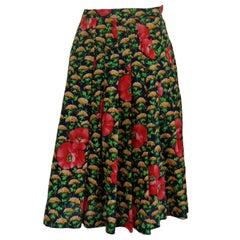 1970s Vintage Green Flowers Skirt