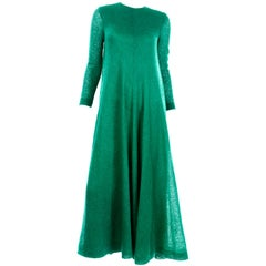 1970s Vintage Green Knit Anne Fogarty Tent Maxi Dress W Long Sleeves