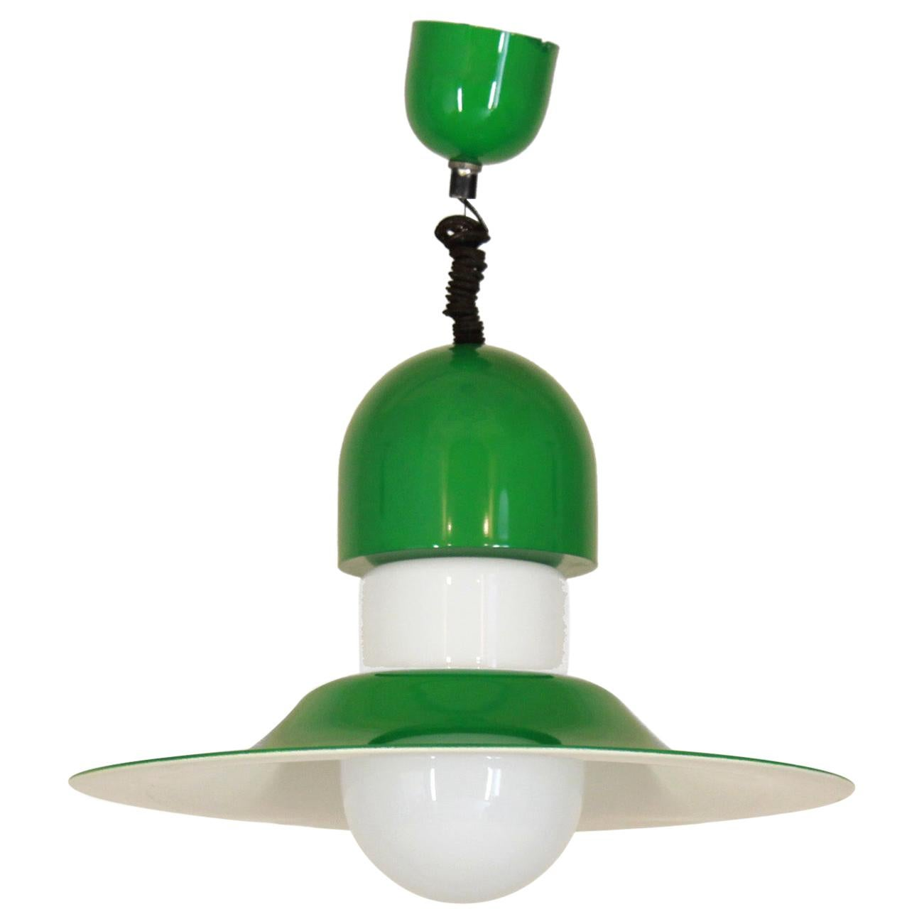 1970s Vintage Green Iron Pendant by Vico Magistretti for Artemide