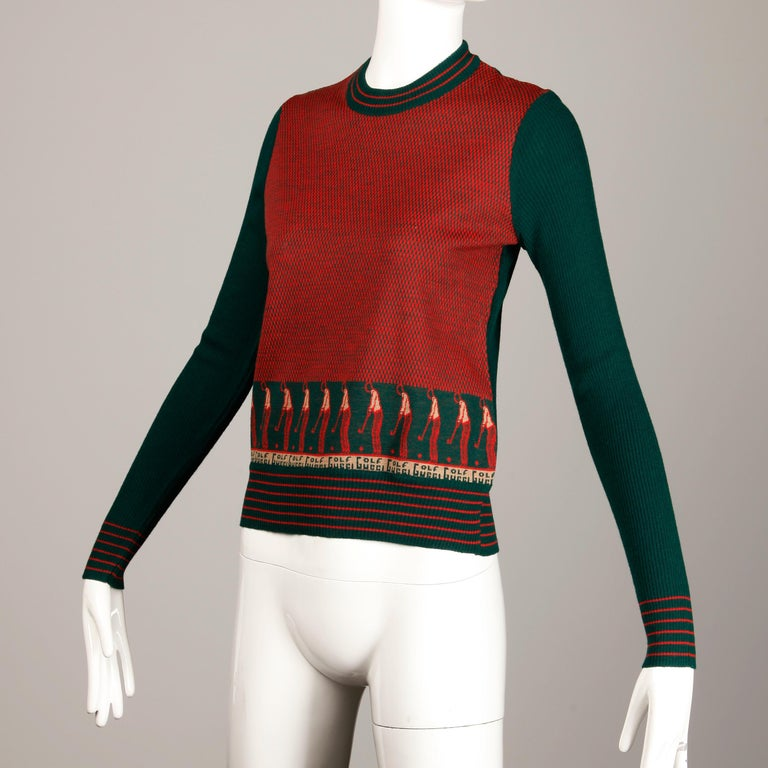 1970s Vintage Gucci Golf Sweater Top For Sale 1