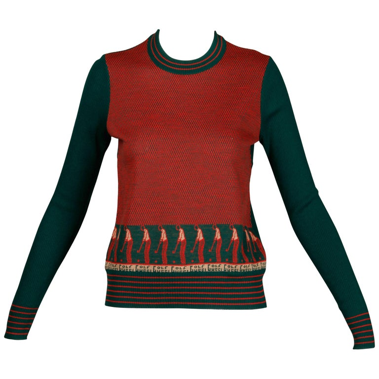 1970s Vintage Gucci Golf Sweater Top For Sale