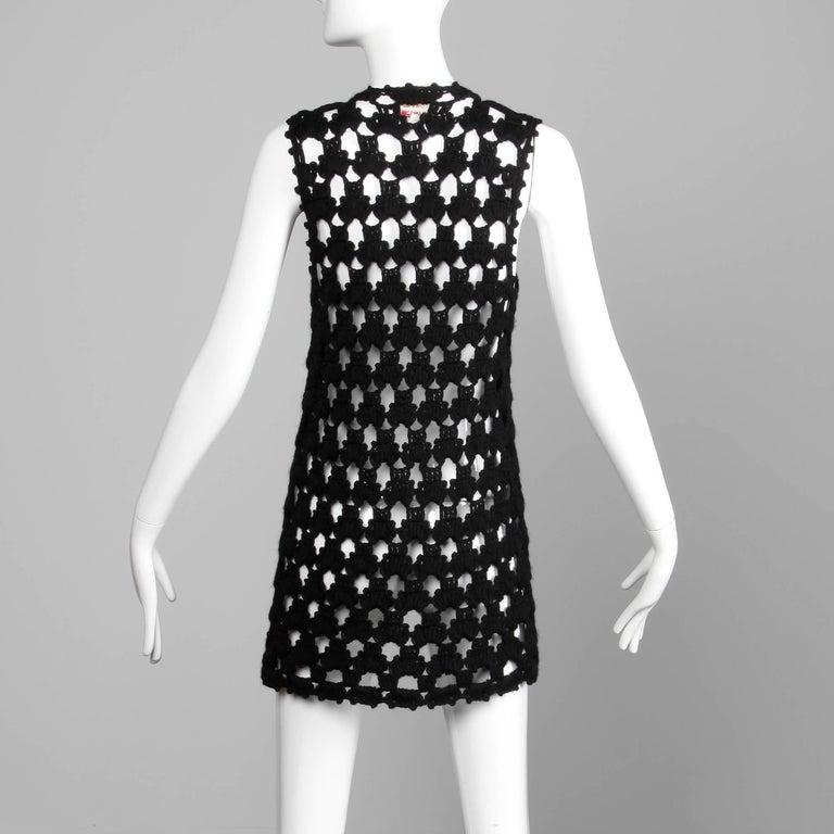 Women's 1970s Vintage Hand-Crochet Black Wool Hippie Boho Vest Jacket/ Sweater Coat For Sale