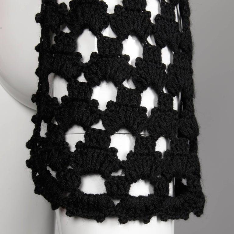 1970s Vintage Hand-Crochet Black Wool Hippie Boho Vest Jacket/ Sweater Coat For Sale 1