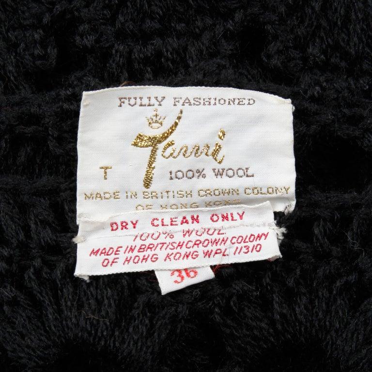 1970s Vintage Hand-Crochet Black Wool Hippie Boho Vest Jacket/ Sweater Coat For Sale 2