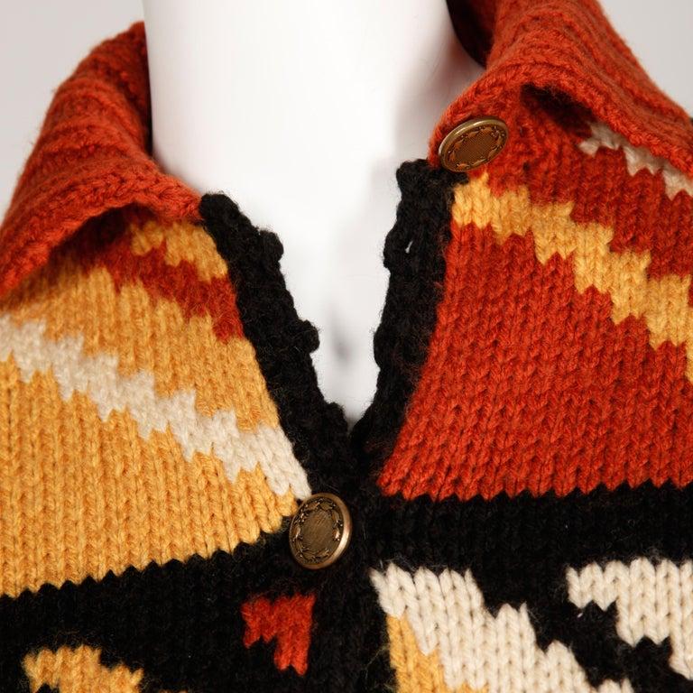 Black 1970s Vintage Handmade Chunky Knit Cardigan Sweater Blanket Coat or Jacket For Sale