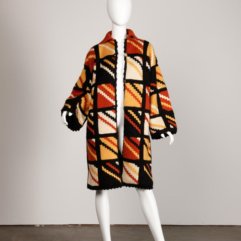 1970s Vintage Handmade Chunky Knit Cardigan Sweater Blanket Coat or Jacket In Excellent Condition For Sale In Sparks, NV