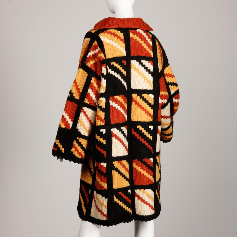 Women's 1970s Vintage Handmade Chunky Knit Cardigan Sweater Blanket Coat or Jacket For Sale