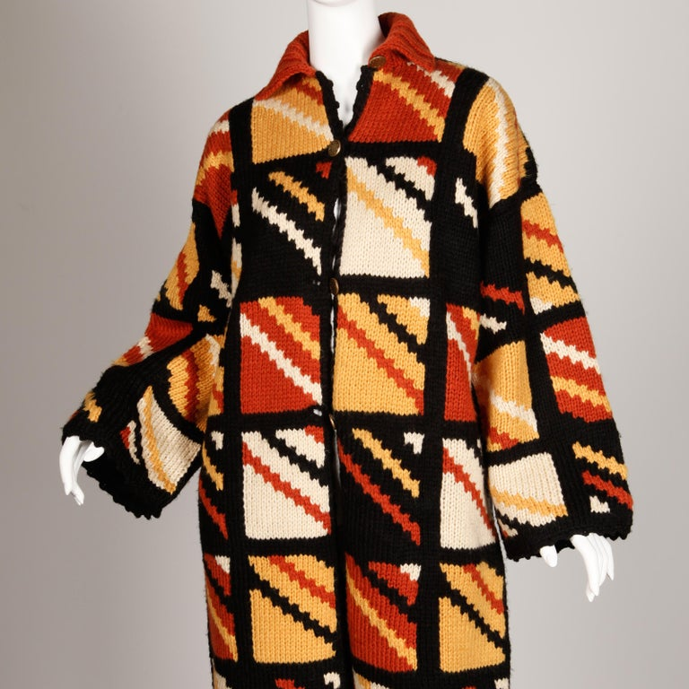 1970s Vintage Handmade Chunky Knit Cardigan Sweater Blanket Coat or Jacket For Sale 2