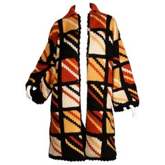 1970s Vintage Handmade Chunky Knit Cardigan Sweater Blanket Coat or Jacket