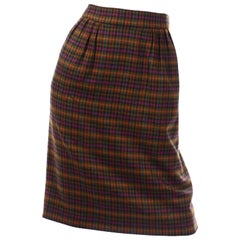 1970s Vintage Hermes Plaid Multi Colored Wool Pencil Skirt