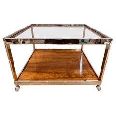 1970s Vintage Howard Miller Square Smoked Glass, Chrome & Rosewood Coffee Table