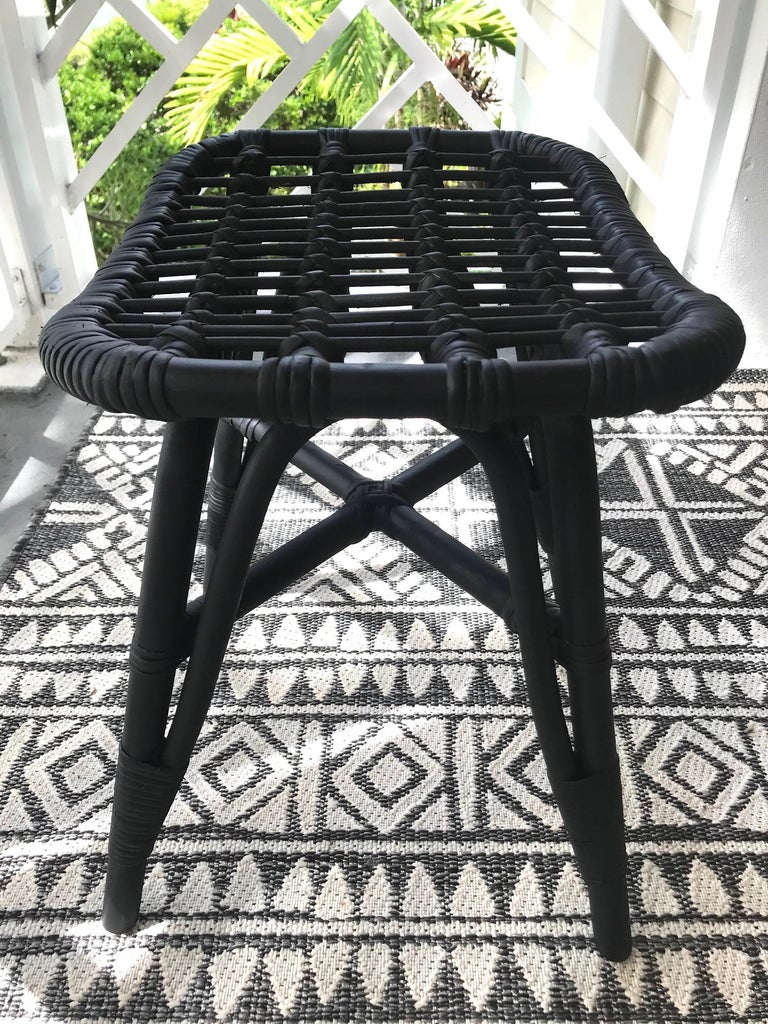 1970s Vintage Indonesian Black Bamboo and Rattan Stool or Ottoman For Sale 5