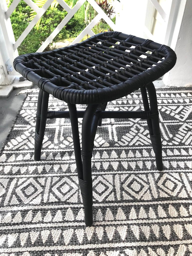Mid-Century Modern 1970s Vintage Indonesian Black Bamboo and Rattan Stool or Ottoman For Sale