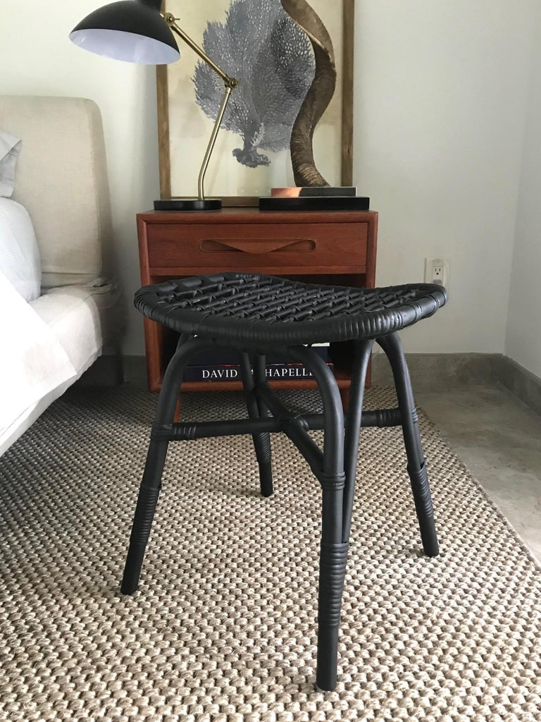 Hand-Crafted 1970s Vintage Indonesian Black Bamboo and Rattan Stool or Ottoman For Sale