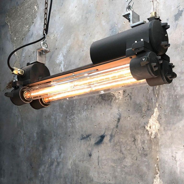 1970s Vintage Industrial Black Flameproof Edison Twin Striplight by Daeyang For Sale 3