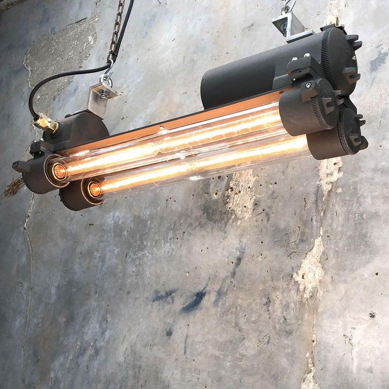 1970s Vintage Industrial Black Flameproof Edison Twin Striplight by Daeyang For Sale 4