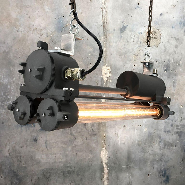 1970s Vintage Industrial Black Flameproof Edison Twin Striplight by Daeyang For Sale 5