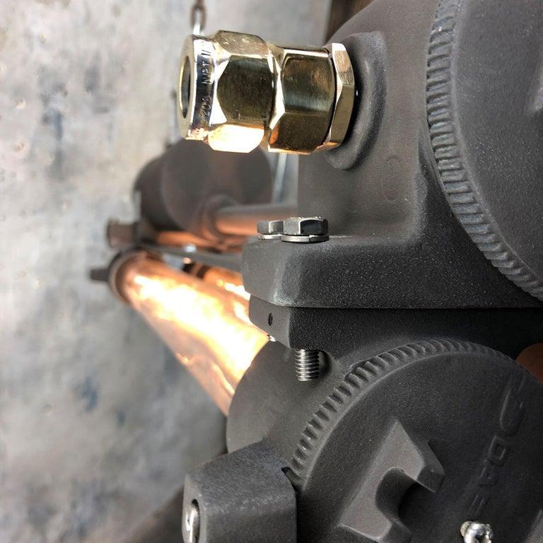 1970s Vintage Industrial Black Flameproof Edison Twin Striplight by Daeyang For Sale 13